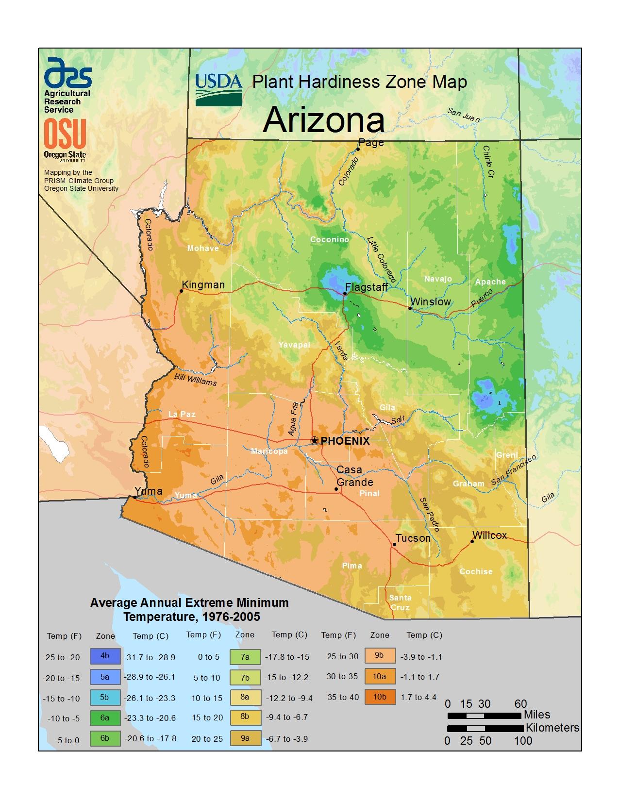Plant Hardiness Zones The How Do Gardener  Map Of Southwest Us Deserts