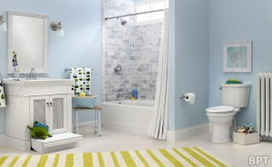 This American Standard Portsmouth vanity provides both style and function to a bathroom remodel, with its slide-out step stool that makes personal grooming easier for children. The Champion PRO Right Height toilet is a convenient 16 1/2-inch chair height for easier on and off.