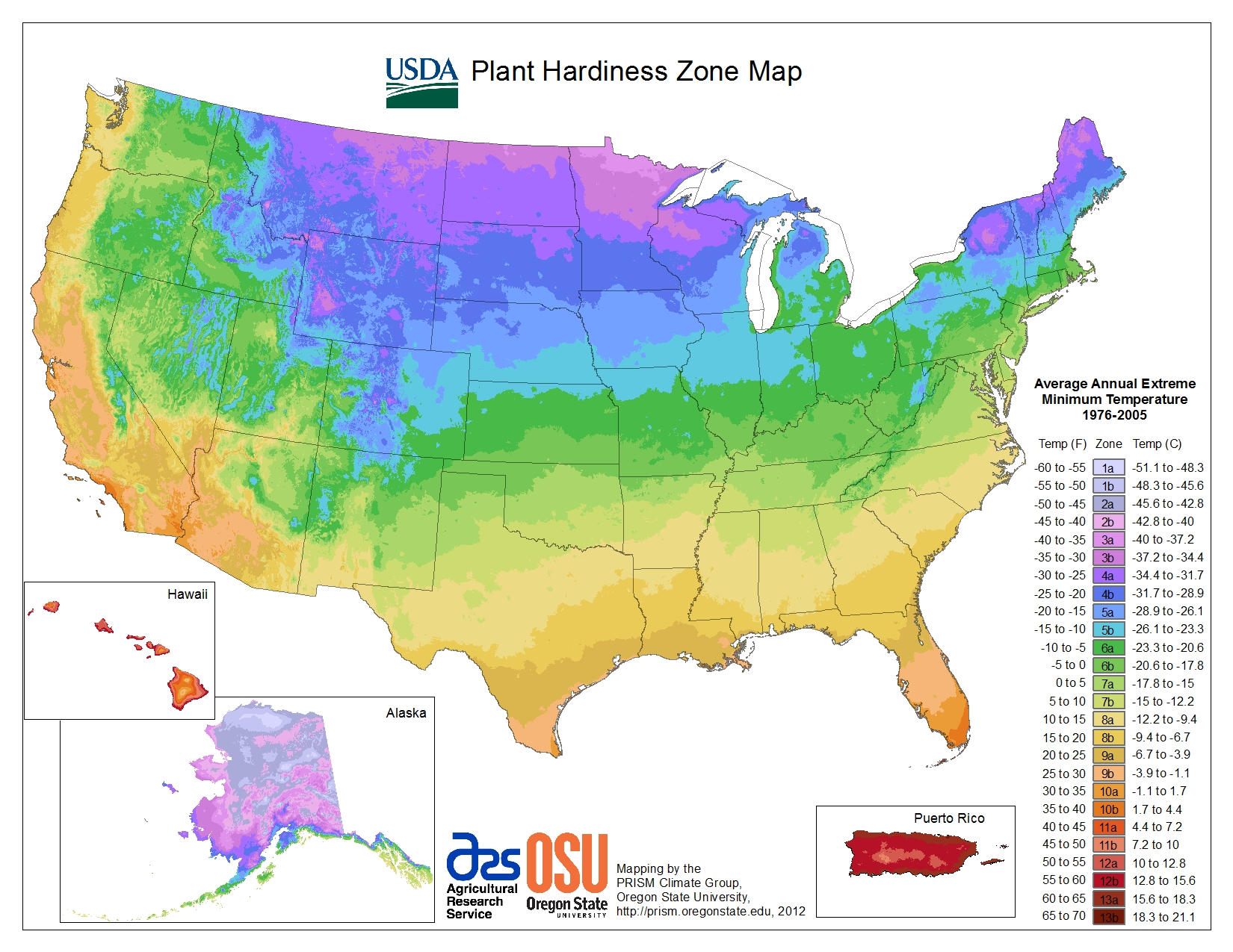 detailed state plant hardiness zone maps